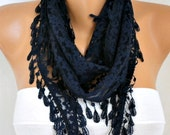 Dark Blue Lace Scarf, Shawl Scarf Women Scarves Cowl Scarf Bridesmaid Gift Gift Ideas For Her Women Fashion Accessories