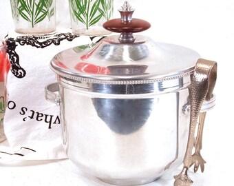 Pyrex Glass Lined Ice Bucket, Buehner Wanner, B. W. Buenilum, Aluminum, Ice Tongs, Mid Century Modern, Atomic, Vintage Barware