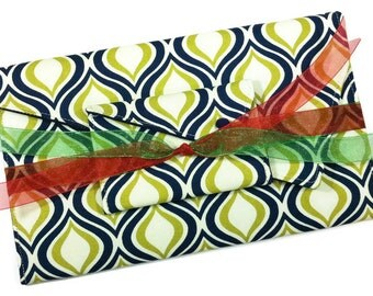 Christmas Gift Set - Navy and Green Envelope Clutch and Card Holder Wallet Gift For Her