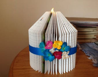 Book Fold Pillar Candle Sculpture Colorful Flowers