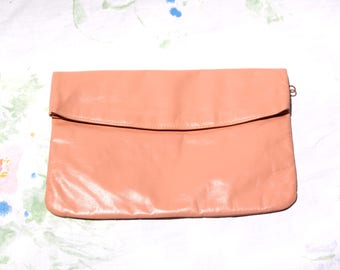 Leather Clutch - Vintage 1980's - Peachy Putty Color - Excellent Condition