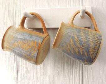 Big Mug Set, Handmade, Large Stoneware Mug Set, Blue, Wheel Thrown Pottery,Microwavable,Kitchen Decor,Cottage,Happy Couples Wedding Gift Set