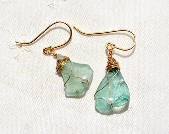 Roman Glass Gold Filled Earrings Caged Aquamarine Roman Glass Earrings Roman Glass Jewelry Gold Filled Jewelry Israeli Jewelry Free Shipping