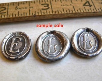SAMPLE SALE -- Medium- Sterling Initials -Wax Seal Jewelry, FREE Shipping within the U.S.  - Your Daily Jewels