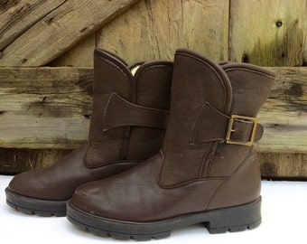Canadian Leather Winter Boots Brown Shearling Lined Waterproof Made in Canada Size 7W