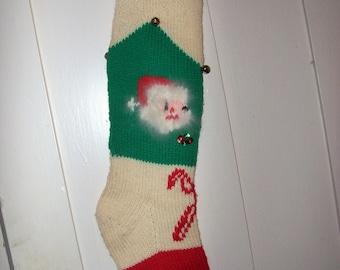 Hand Knit Wool Christmas Stocking  Santa Face Candy Canes Personalized