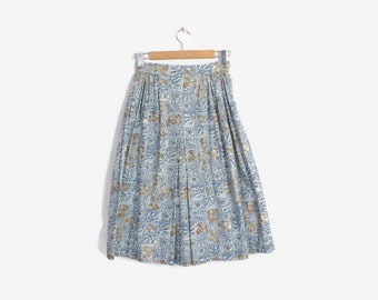 Vintage 50s FULL SKIRT / 1950s  Blue & White Baroque Print Cotton Skirt s