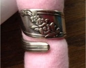 Wrap Spoon Ring, Size 5 1/2 or 6, Queen Bess - 1947 Tudor Plate Pattern, Silverware Jewelry Ring