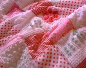 Sweet baby quilt, vintage chenille, fabric, minkee, baby blanket, pink red white green, nursery, crib quilt, baby shower, chenille bedspread