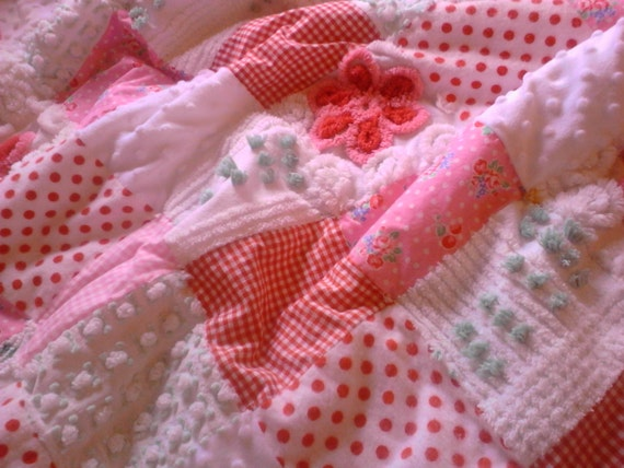 Sweet Baby Quilt Vintage Chenille Fabric Minkee Baby