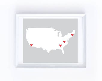Custom Printable US Map with Hearts - Up to 20 Hearts Placed Anywhere on the Contiguous United States Map, Choose from 16 Heart Colors