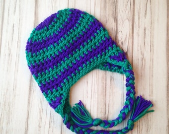 Teal and purple striped hat Size 6 to 12 months, Ready to ship, crochet hat, photography prop, christmas hat, custom hat, kids hat