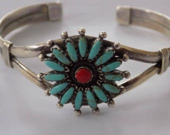 Vintage bracelet,  Zuni needlepoint turquoise, coral, and sterling silver open cuff flower bracelet