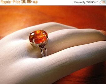MothersDaySale Genuine Amber Ring in Sterling Silver orange golden fiery glow custom larger 18x13 + 12x10mm cabochon handmade size 5 6 7 8 f