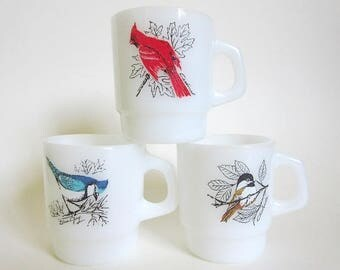 3 Anchor Hocking Fire King Bird Mugs, Cardinal, Blue Jay/ Baltimore Oriole, Chickadee, Vintage Stackable