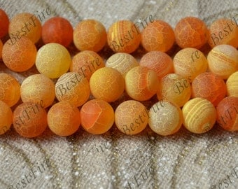10 mm Orange Matte Agate round nugget stone Beads,agate stone beads loose strands,agate beads finding,Nugget Gemstone Bead loose strands