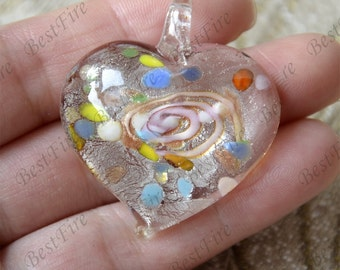 Heart Lampwork Pendant,Coloured Glaze Pendant,Glass bead pendant, drop Charm pendant