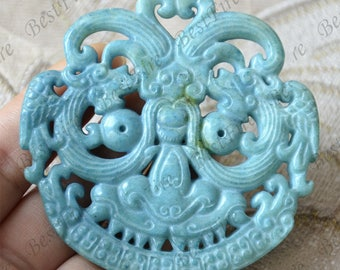 Carving dragon Jade Pendant Jade Pendant, Double Face dragon Jade Pendant Amulet Talisman,Jade Necklace Pendant Jewerly