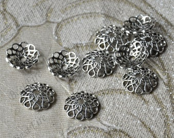 10 pcs of Antique silver metal flower bead cups,beadcap findings,beads,findings beads