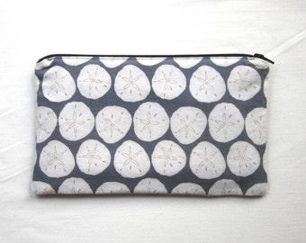 Sand Dollars Fabric Zipper Pouch / Pencil Case / Make Up Bag / Gadget Sack