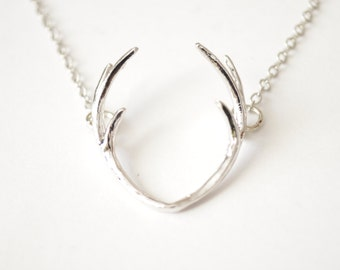 Silver Antler Necklace, Dainty Antler Pendant, Deer Antler Jewelry, Gifts for Her, Country Wedding