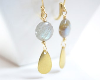 Labradorite Gold Teardrop Earrings