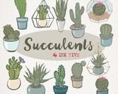 Succulents Floral clipart, Digital Cactus, green clip arts, Flowers, Terrariums scrapbooking, wedding invitations, cactuses for digi scrap.