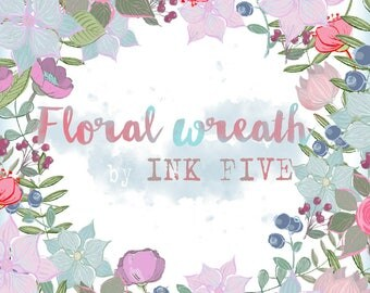 Floral Wreath clipart. Digital printable flowers wreaths clip art images for digital scrapbooking, cards. Wedding printables for invites