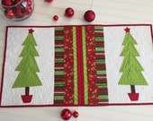 Reserved for Sue Quilted Christmas Table Runner with Appliqued Trees in Red and Green