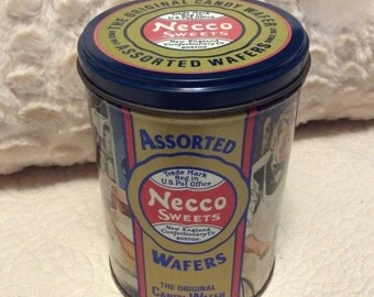 15% SALE Vintage Necco Candy Wafer Tin Container History Americana Advertising