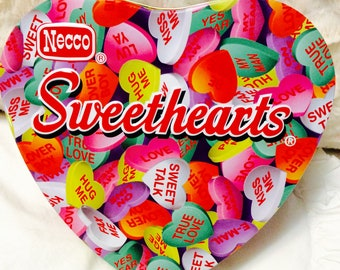 Necco Sweethearts Candy Tin Box Heart Valentine Pink Advertising