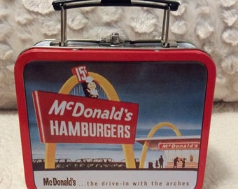 MOTHERS DAY SALE Vintage McDonald's Tin Lunchbox small Red White Americana Advertising