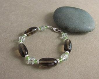 SALE! Abundance, Luck & Prosperity Bracelet with Smoky Quartz, Prasiolite and Peridot (407)