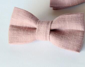 Vintage rose linen bow tie
