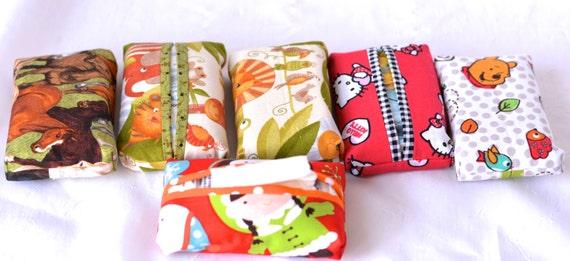 Girl Party Favor Set of 6... Kleenex Pocket Tissue Holders, 6 Handmade Girl Birthday Party Favors, Office Gifts, Stocking Stuffer