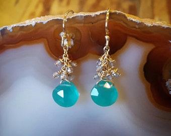 Labradorite Earrings Labradorite Beaded Earrings Women Gift for Her Green Onyx Drop Earrings Gold Dangle Earrings Gemstone Teardrop Earrings