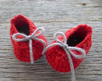 Red and Gray Crocheted Baby Booties, Crocheted Baby Booties