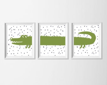 Alligator Art Prints Set of 3. Green Navy Confetti Alligator Wall Decor, Boy Nursery Art, Big Boy Room Wall Art Safari , Toddler Boy Wall