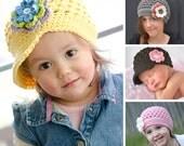 """Crochet Hat Pattern, Crochet Pattern Baby, Crochet Pattern Children, Crochet Pattern Hat,  """"The Original Buttercup Beanie"""" pattern #101"""