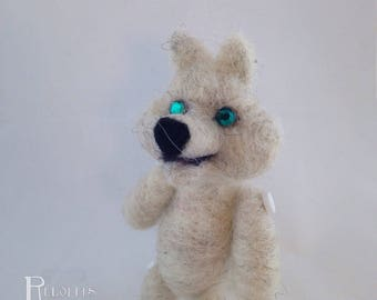 Needle Felt Lil' Buddy White Wolf Doll