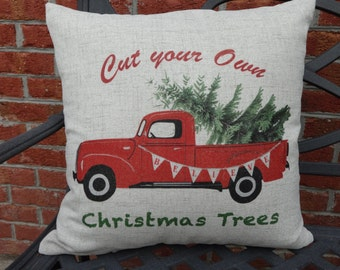 Christmas Pillow FREE SHIPPING Vintage Pillow Vintage Truck Pillow Cover   Farmhouse  Christmas Tree  Christmas Tree Farm     Holiday Pillow