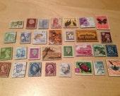 30 World Magnets -  Postage Stamp magnets Travel - New Zealand, Jamaica, Norway, Netherlands, Romania, Germany, USA, Australia, etc Item#30B
