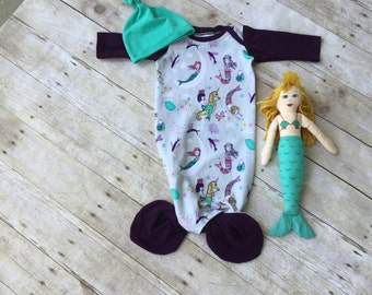 Baby Sleeping Gown with Mermaid Tie and Matching Hat - Photo Prop - Bringing Home Outfit