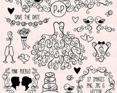 BLACK FRIDAY SALE Hand Drawn Wedding Clip Art Clipart, Wedding Silhouettes Clip Art Clipart Vectors - Commercial and Personal