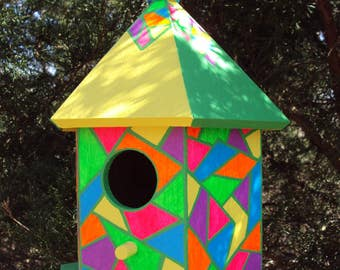 Bright Colors Handpainted Birdhouse/Geometric Shapes/Stained Glass Look/Pink/Yellow/Green/Purple/Orange/Hanging Birdhouse Rope Attached