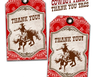 Cowboy Party Thank You Tags, Gift Tags, Favor Tags, Wild West party, Instant Download Print Your Own