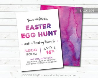 Easter Egg Hunt Invitation, Easter Sunday Brunch Party Invitation, Digital Printable Easter Invitation, Purple Watercolor, Easter Brunch