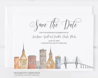 Charleston South Carolina Wedding Save the Date with Skyline and Ravenel Bridge Charleston Wedding SC Wedding Invites by Palmetto Greetings