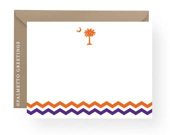 PRINTED - Clemson Tigers Inspired Notecards, Stationery, South Carolina Palmetto Moon Blank Notecards with Chevron Stripe - Set of 8