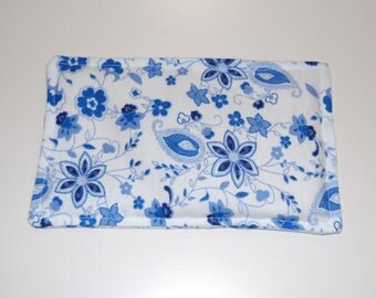 SALE, Rice Heating Pad / Ice Pack, 5 X 8 Blue Floral